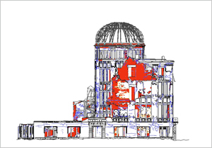 Drawings b2 of the Atomic Bomb Dome