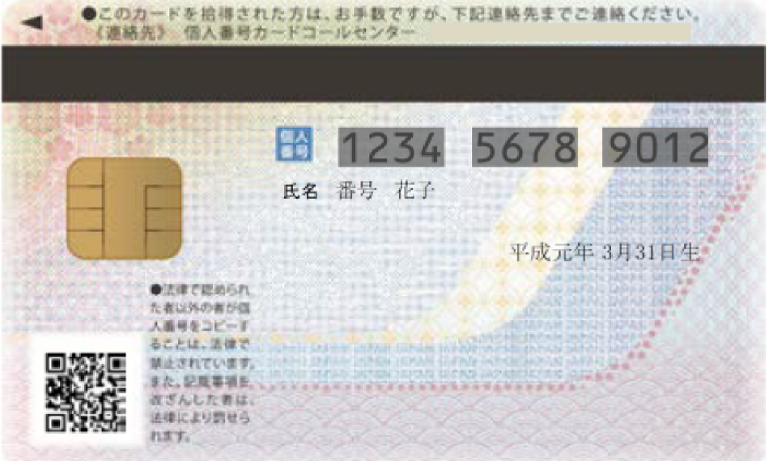 Individual Number Card Back side